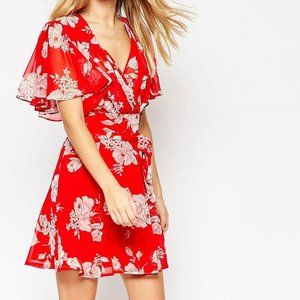 ASOS Red Kimono Flippy Spring Floral Mini Dress